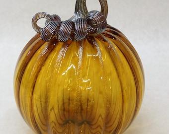 Hand Blown Glass Art Sculpture Large Pumpkin Oneil 7228 gold