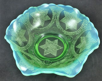 Fenton Beaded Stars and Swag 8 Inch Bowl