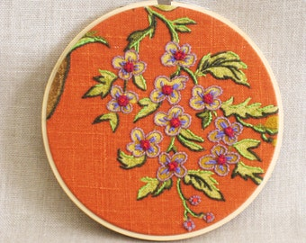 Hoop Art Hand Embroidery, Textile Art, Flowers, Wil Shepherd Studio, Floral, Orange, Wall Decor, Wedding, Embroidered Flowers, Handmade