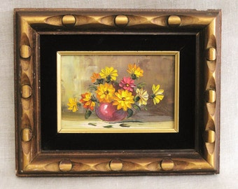 Small Vintage Flower Painting, Still Life, Framed, Gilt, Small Floral, Wall Decor, Original Fine Art, Orange,Classical,Handmade,Hand Painted