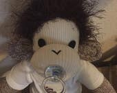 RESERVED for Michaelhansard80.  Baby Sock Monkey.  Large Rockford Red Heel sock monkey.  Hand made by me.