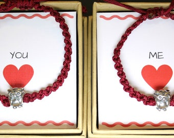 Couples Bracelets, Owls bracelets, Silver Beads Bracelets, Sterling Silver Bracelets, Thread Handknotted Bracelets, Friendship Bracelets