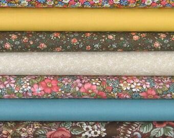 Seven Fat Quarters in Calico and Coordinating Solids, 100% Cotton Quilt Fabric for Sale, Fat Quarter Bundle, Quilt Fabric Bundle