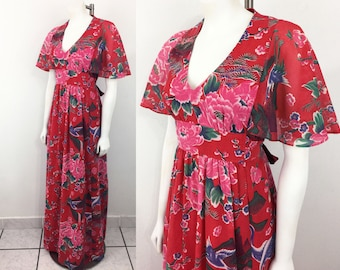 Vintage Red Maxi Dress with Asian Inspired Print and Gorgeous Flutter Sleeves