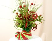 Red and Green Arrangement * Santa Boot Centerpiece * Christmas Centerpiece * Christmas Decoration * Candy Cane * Holiday Decor