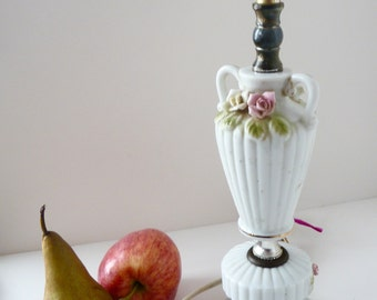 Vintage Lamp  Floral China Shabby Cottage Petite Budoir Capodimonte