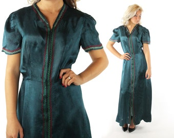 Vintage 40's Evening Gown Puff Sleeve Dress Green Satin Rayon Hand Embroidered 1940s Medium M