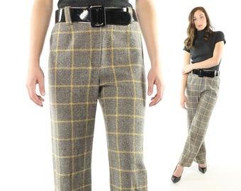 Vintage 60s Bobbie Brooks Pants Plaid Wool Trousers Black White Tweed 1960s Medium M High Waisted Flared Mod Slacks