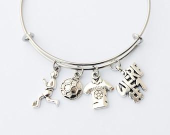 Soccer Mom Bracelet, Soccer Mom Jewelry, Soccer Charm Bracelet, Soccer Charms, Soccer Jewelry, Soccer Mom Gift, Soccer Girl Gift, Soccer Fan