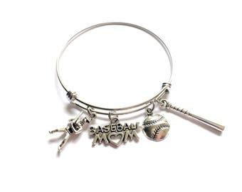 Baseball Mom Bracelet, Baseball Mom Jewelry,  Baseball Charm Bracelet, Baseball Jewelry, Baseball Charms