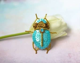 Ocean Blue Scarab Bug, Sequin Scarabaeus Brooch, Gold Sequins Beetle, Sequin Felt Embroidery, Sacral Scarab Insect, Egypt Mystic Creature