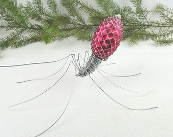 A Delicate Pink Spider Repurposed Wire Art