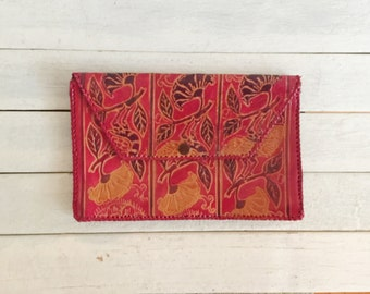 Vintage leather tooled wallet, clutch, made in India