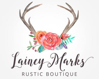 Logo Design, Watercolor Logo, Antler Logo, Watercolor Antler, Rustic Logo, Boho Logo, Photography Logo,  Flower Logo, Boutique Logo, .