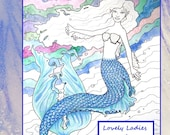 Fantasy Women ADULT COLORING BOOK Full Size 8.5 by 11 Inches featuring 20 Lovely Lady Designs w Nude Nudes Colored Pencil Ink Marker Horror