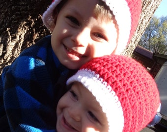 Simple Santa Hat, Girl or Boy Crochet Christmas Cap, Photo Prop for the Family, Adult Red and White Santa Claus Beanie, Stocking Stuffer