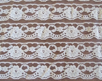 """Vintage Lace Fabric - Pale Peach Synthetic Open Lace - 1 1/3 yards x 90"""" wide"""