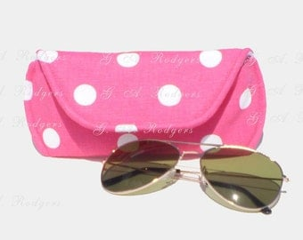 Medium Sunglass Case, Hot Pink Polka Dot Eyeglass Case - Free Shipping in the US