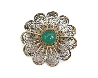 Portugal Sterling Vermeil Filigree Chrysoprase Brooch - Portugeuse, Topazio Style, Green Chrysoprase, Vintage Brooch, Vintage Jewelry