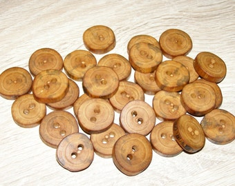 """Small 30 Handmade apple wood Tree Branch Buttons , accessories (0,79'' diameter x 0,16"""" thick)"""
