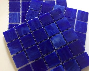 MG310100 Dark Blue Stained Glass Mosaic Tiles-25 pc// Discount Mosaic Supplies//Blue Stained Glass