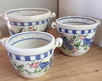 VINTAGE - Cache Pot Set - 3 Handmade Cache pots with crackle Glaze