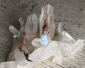 Children of the Forest Pendant - Ooak Rainbow Moonstone and 9k Rose Gold