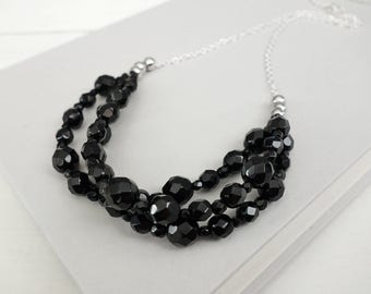 Black statement necklace black bib necklace multi stranded necklace minimalist black necklace for women