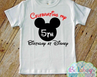 Celebrating my Birthday at Disney Bodysuit or Tshirt - Mickey Mouse - Disney