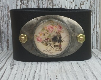 Sugar Skull Soldered Leather Cuff Day of the Dead Bracelet