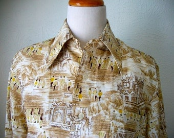 Castles and country folk pattern men's button up by Narvatifs