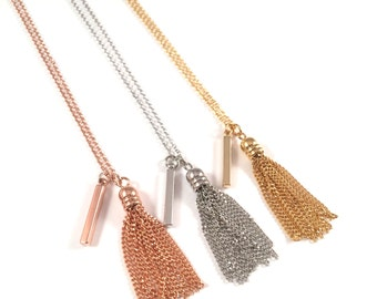 Petite Bar + Tassel Necklace | Long