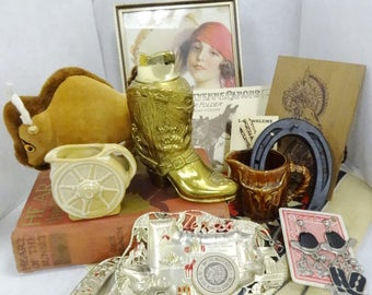 Cowboy Western Southwest Decor Theme Spring Cleaning Box Lot Estate Finds Vintage Collectibles BIG Variety Items All as Pictured