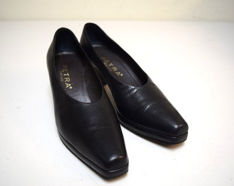 VINTAGE PETRA Italy Black Calf Leather Platform Pumps Heels Size 6.5 M