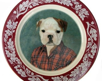 """Buddy the Bulldog Portrait Plate - Altered Vintage Plate 10"""""""