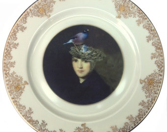 Portrait of a Bird Brain - Altered Vintage Plate 10""