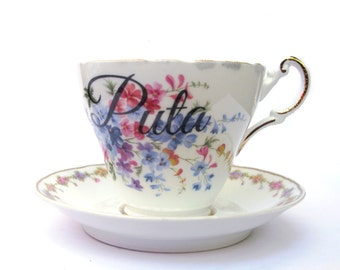 SALE - Imperfect - Puta Altered Teacup and Saucer