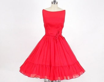 SALE 50s Dress, Vintage 1950s Red Dress, 1950s Chiffon Party Dress
