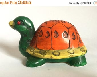 Vintage 1970's Ceramic Turtle Piggy Bank with Jewel Eyes