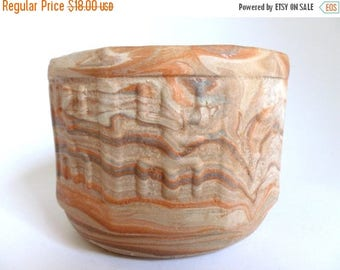 Mid Century Comanche Pottery From Texas Marbleized Flower Pot - Vintage Planter - Rust Brown Cream Colors