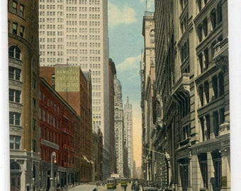 Broadway from Bowling Green Streetcar New York City NYC NY 1910s postcard