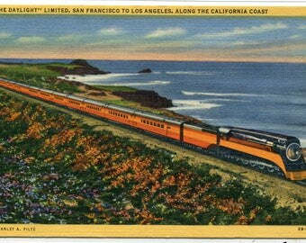 Daylight Limited Southern Pacific Railroad Train California Coast linen postcard