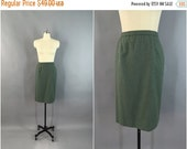 SALE 50% OFF - Vintage 1980s Pencil Skirt / 80s Green Wool Skirt / Pendleton USA / Size Medium Large M L 12