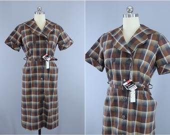 Vintage 1950s Dress / 50s New Look Day Dress / Brown Plaid Cotton Dress / Ann Taylor Original Deadstock with Tags