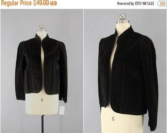 SALE - Vintage 1980s Velvet Jacket / 80s Velvet Coat / Brown Velvet Military Style / RT II / Size Small S Medium M 6