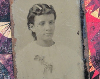 Tintype Native American Young Girl, Oklahoma Album Portrait