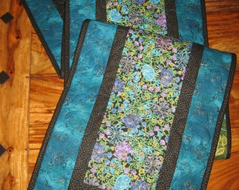 Easter Quilted Table Runner, Paisley Turquoise, Purple and Green, Reversible Runner, Contemporary Table runner 13 x 70""