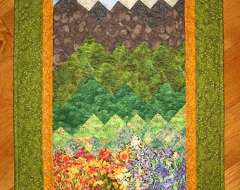 Summer Flowers and Mountains Art Quilt Fabric Wall Hanging Landscape Quilt, Textile Art, Lake Tahoe Art 37 x 19""