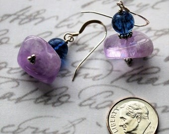 Lavender Amethyst and Blueberry Quartz with Sterling Silver Earrings