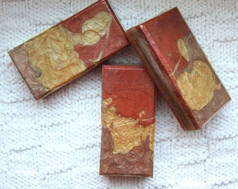 Golden, Russet and Fawn colored Vanilla Hazelnut Glycerin and Coconut Oil Soap
